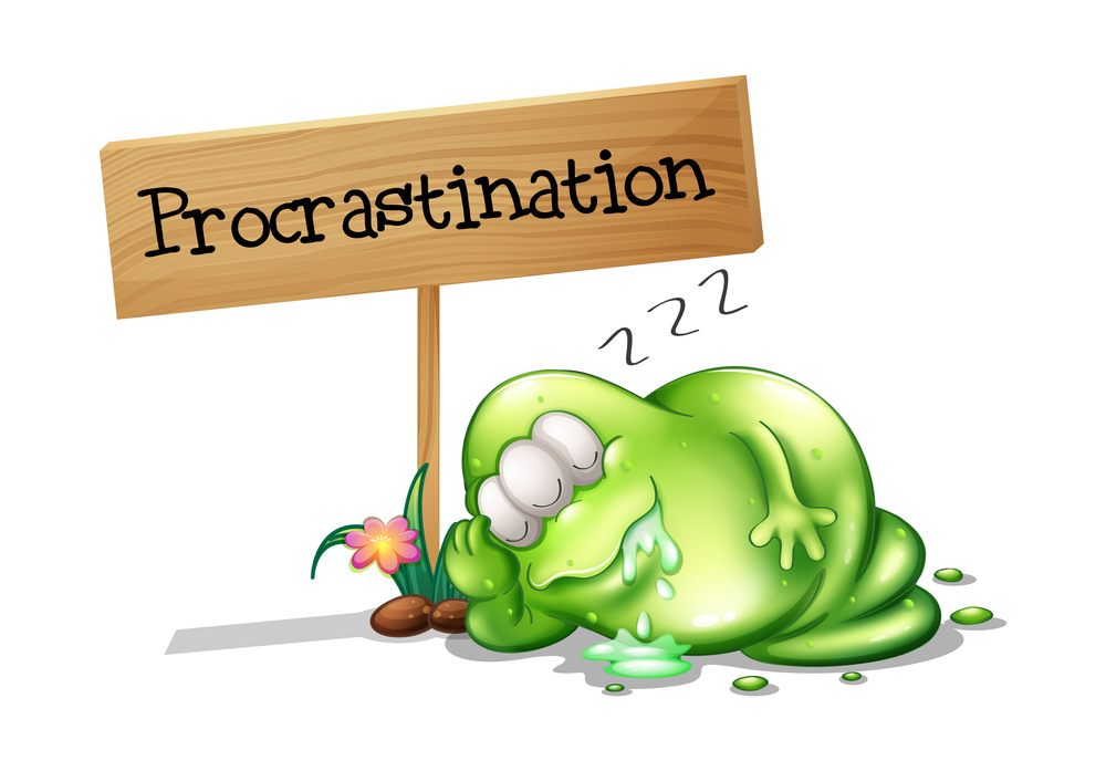 A green blobby cartoon monster with three eyes snoozes on the ground holding a wooden 'Procrastination' sign.