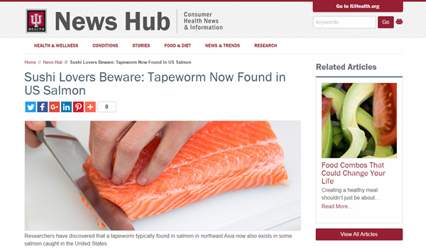 Screenshot of IU Health News Hub salmon article