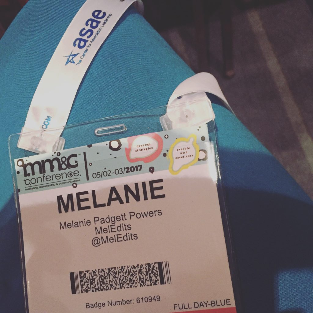 Photo of Melanie Powers' badge at ASAE MMC Conference