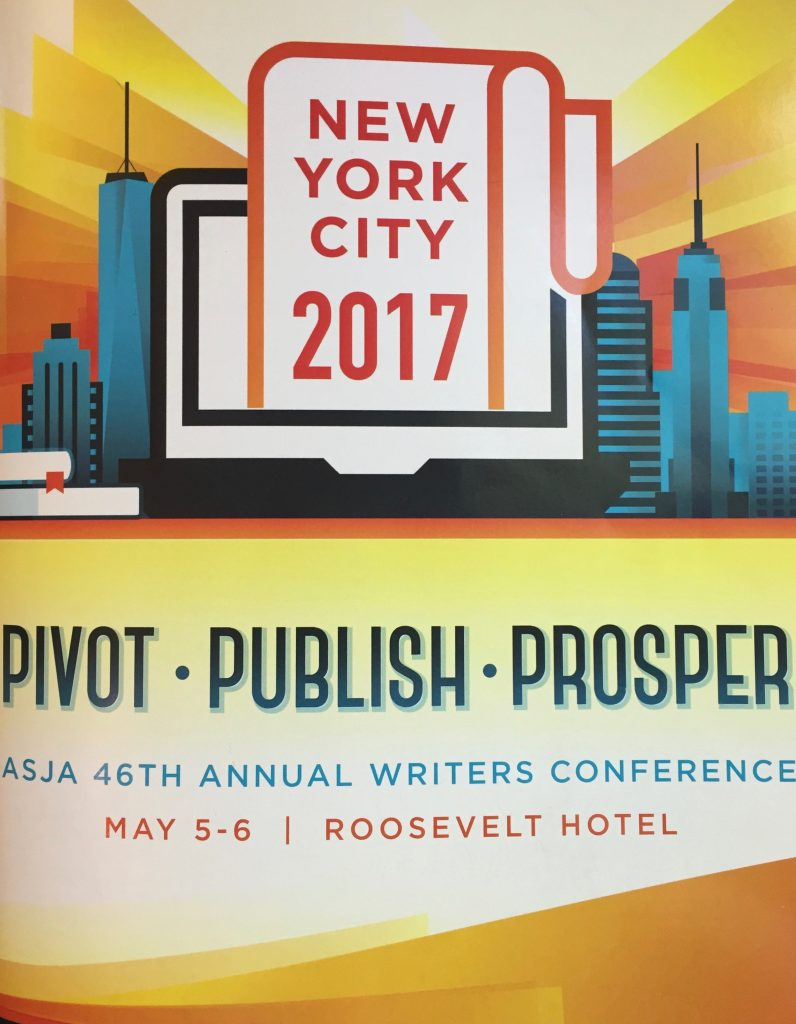 The cover of the ASJA conference book shows an illustration of the New York skyline with the words Pivot, Publish, Prosper.