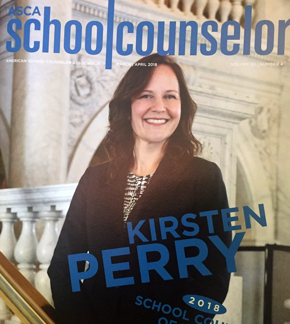Cover of School Counselor magazine with portrait of Kirsten Perry standing and smiling at camera