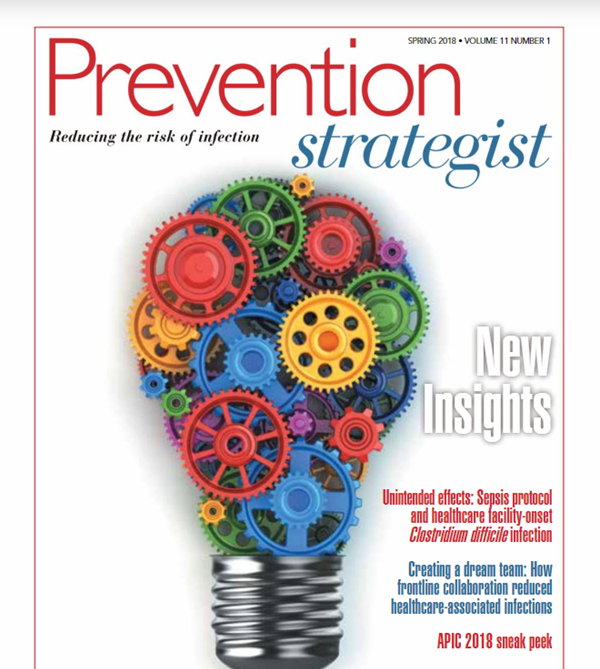 Cover of Prevention Strategist magazine's spring issue showing a lightbulb with colorful gears all over it.
