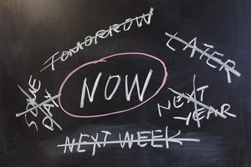 The word 'Now' is centered on a blackboard in white chalk, surrounded by other words relating to procrastination that are crossed out.